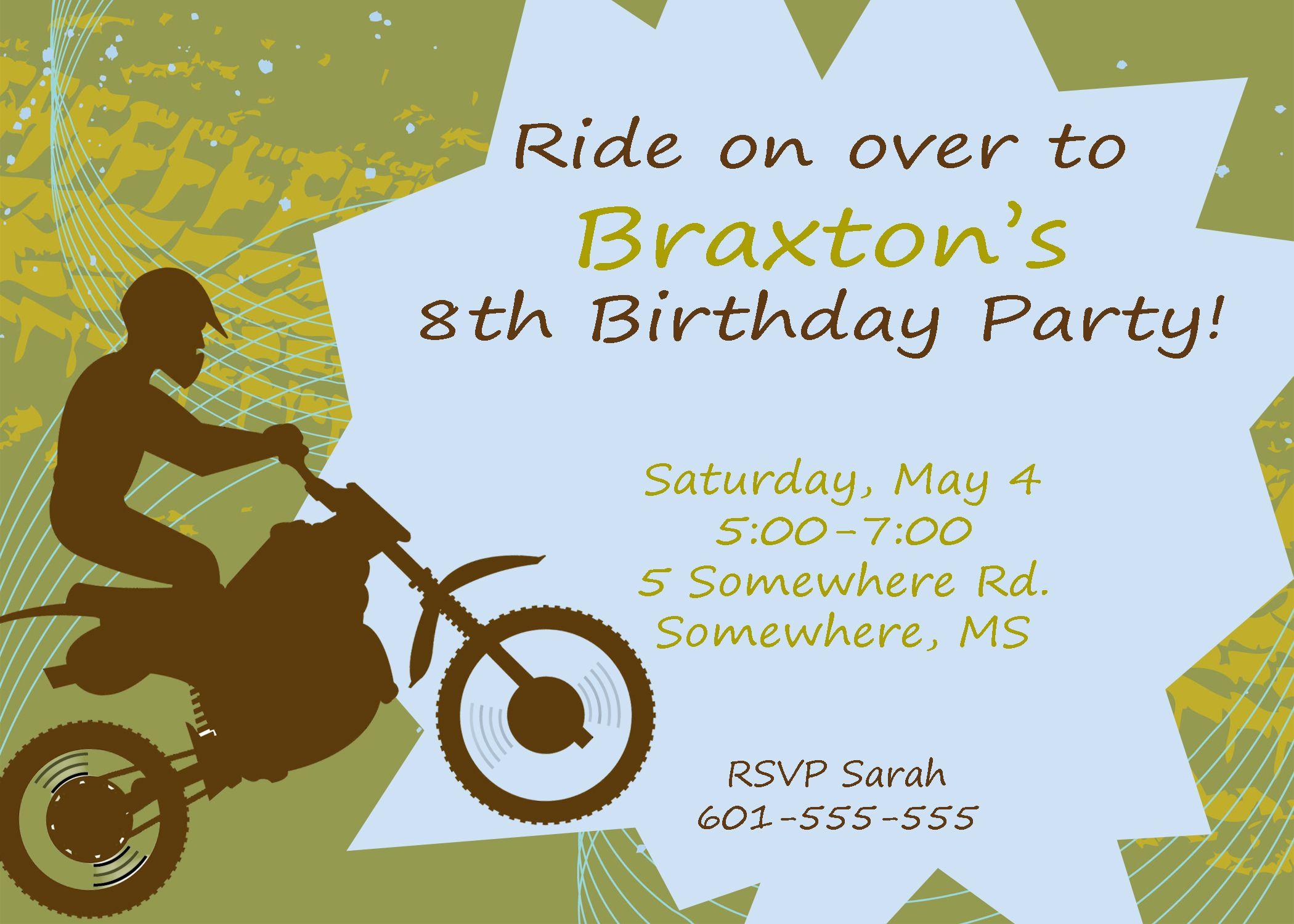 Cute dirt bike invitation birthday party pinterest dirt cute dirt bike invitation filmwisefo Gallery