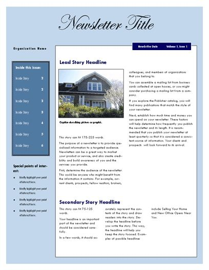 Real Estate Home For Sale Newsletter Template Design Templates For