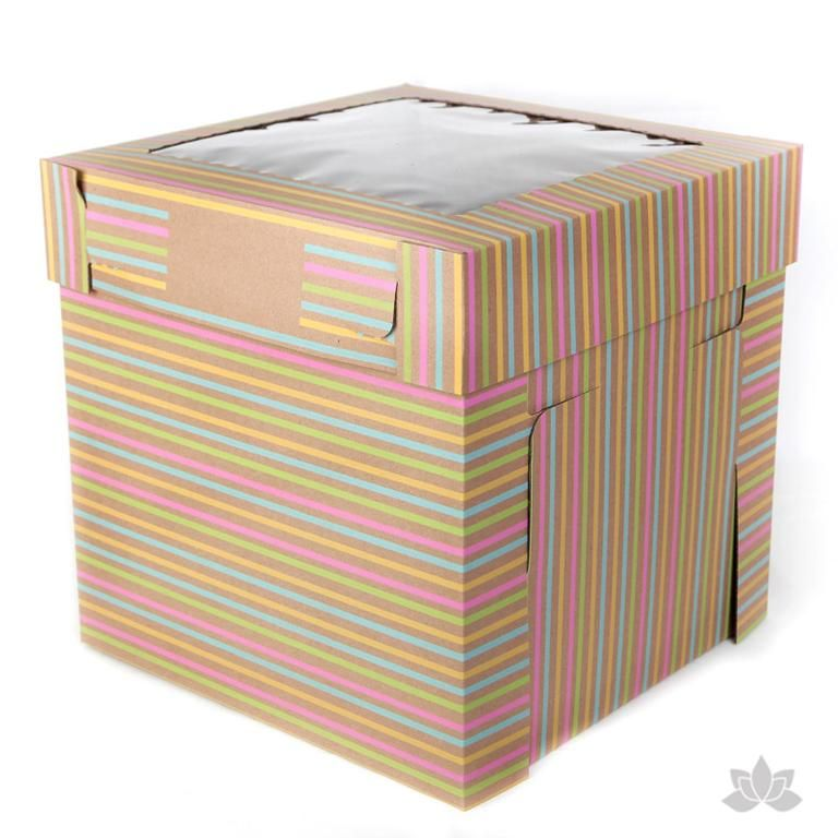 Tall Window Cake Box Stripes Box Cake Boxes Easy Cake Packaging