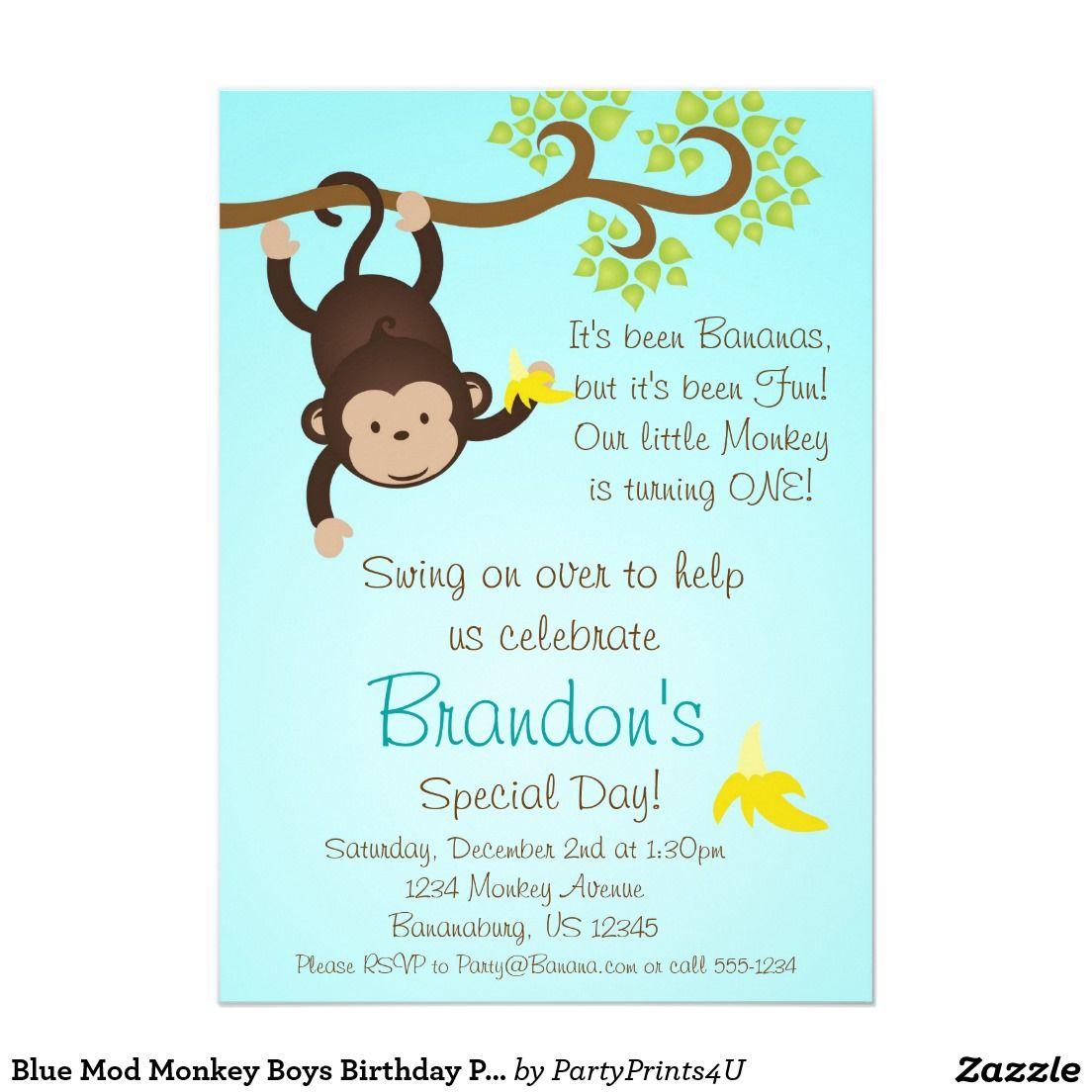 monkey birthday invitations - Google Search | Lanie\'s Zoo Party ...