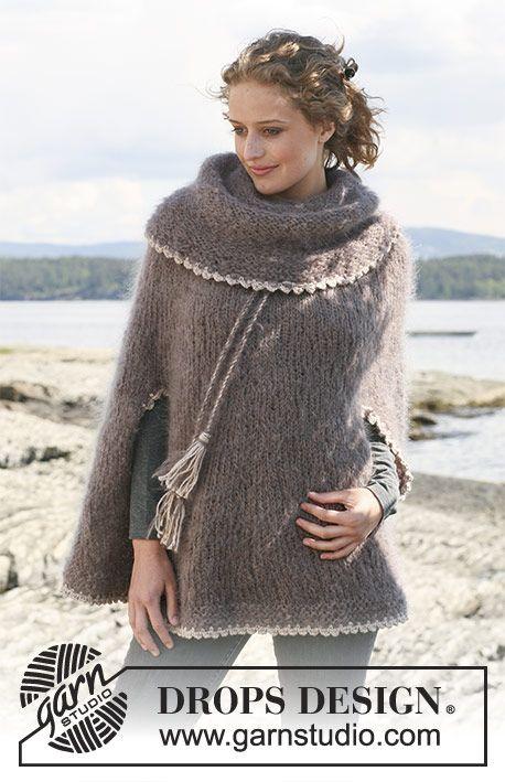 Friar\'s Robe / DROPS 110-11 - Poncho DROPS de punto con cuello ...