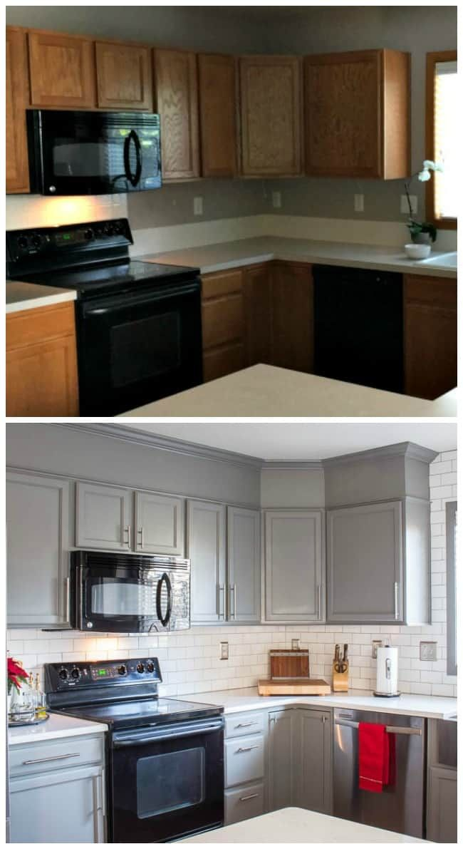 Kitchen Before and After Reveal #graycabinets