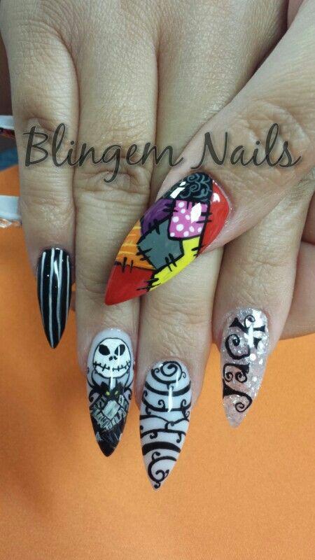 Halloween Party Nail Design Devil Dangerous Black 2014 Jack n Sally ...