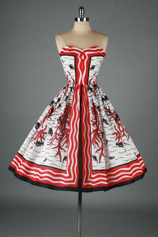 1950s Mademoiselle Sea Life Novelty Print Strapless Linen Dress Vintage 1950s Dresses Fashion Summer Dresses Fashion Vintage Dresses