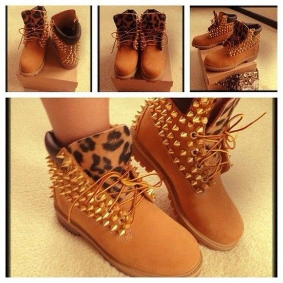 shoes pink timberlands boots leopard print spikes bambi