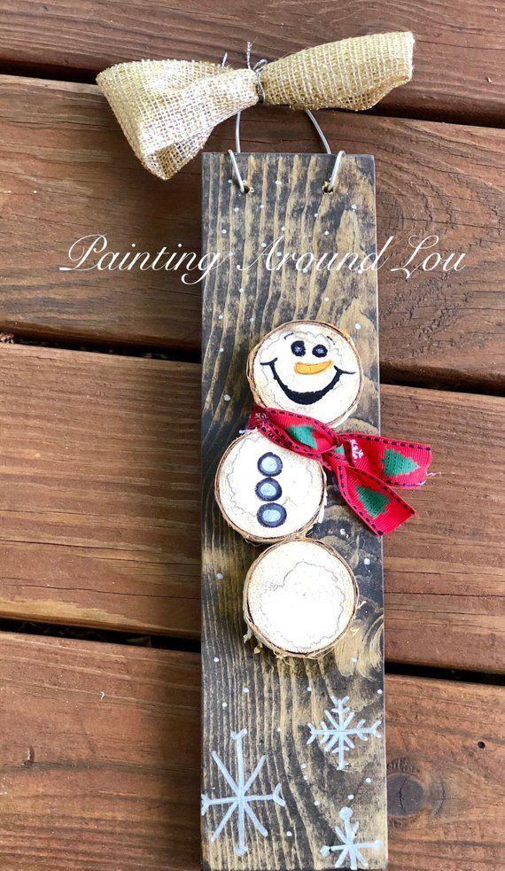 Wood Slice Snowman Sign - Christmas Decoration - Winter Decoration - Snowman Sign - log snowman #decorateshop