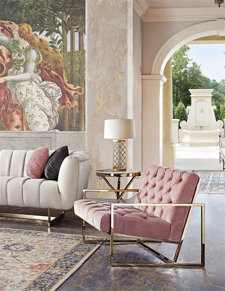 Best Accent Chair In Blush Pink Tufted Velvet Fabric Pink 640 x 480