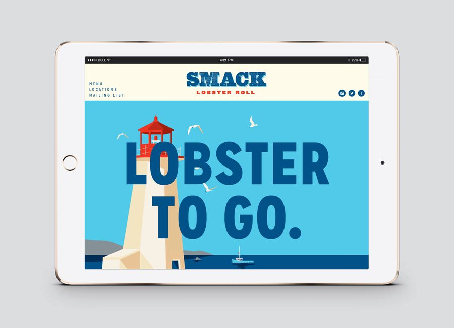 Website and illustration for Lobster takeaway business Smack Lobster Roll designed by & Smith. #website