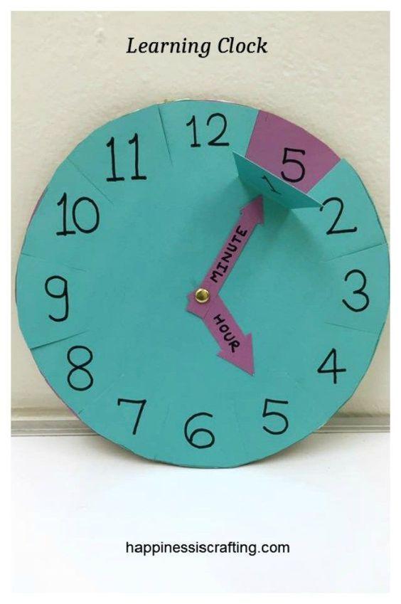 Learning Clock For Kids – reloj para aprender las horas. ¿Y si se hiciera en goma eva o fieltro para que Fuera