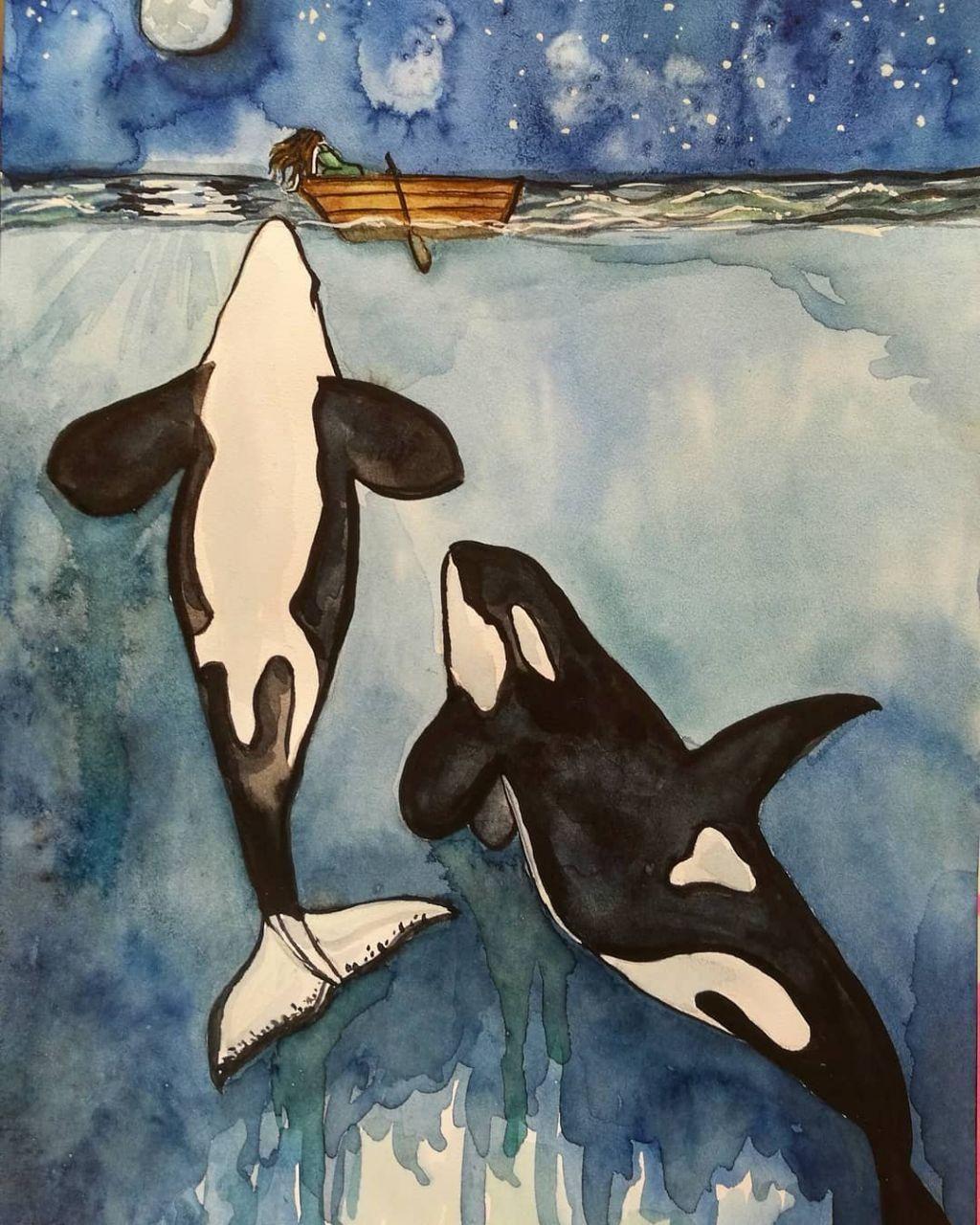 #painting #art #watercolor #underwater #ocean #whale #boat ...