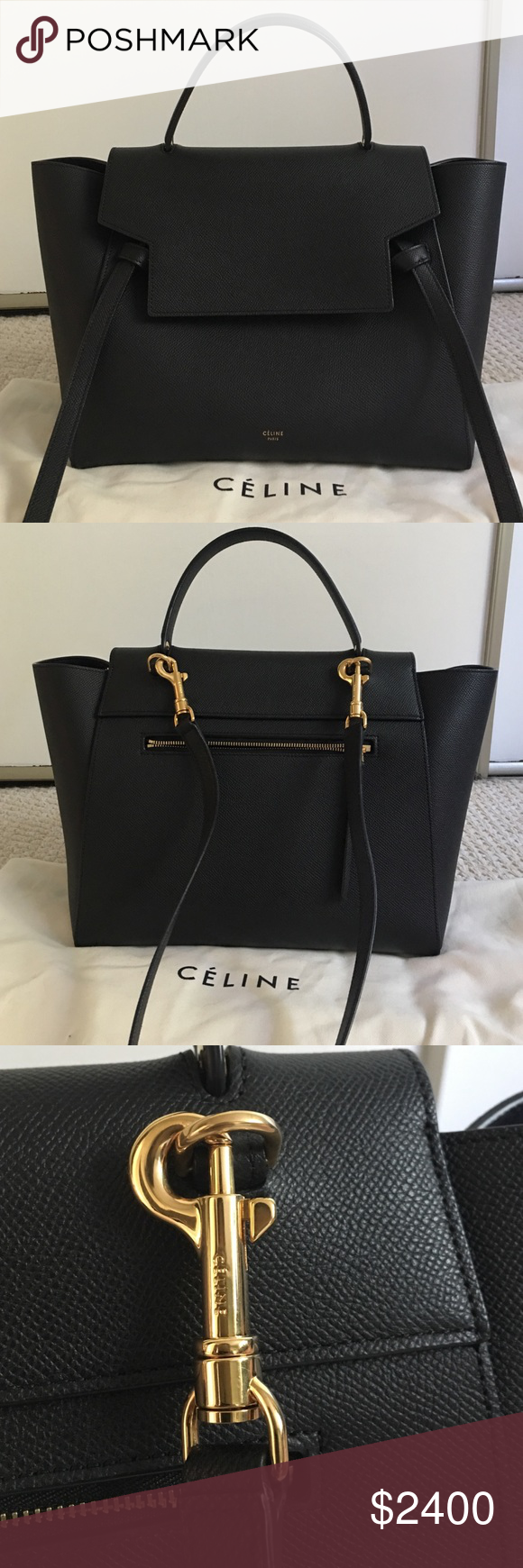 d90f666ff9e Celine Mini Belt Bag - Black Pebbled Leather Celine Mini Belt Bag in pebbled  leather with