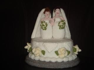 Wedding cake knitted for Jess and Niamh's civil ceremony in Dublin. Inspired by Alan Dart.