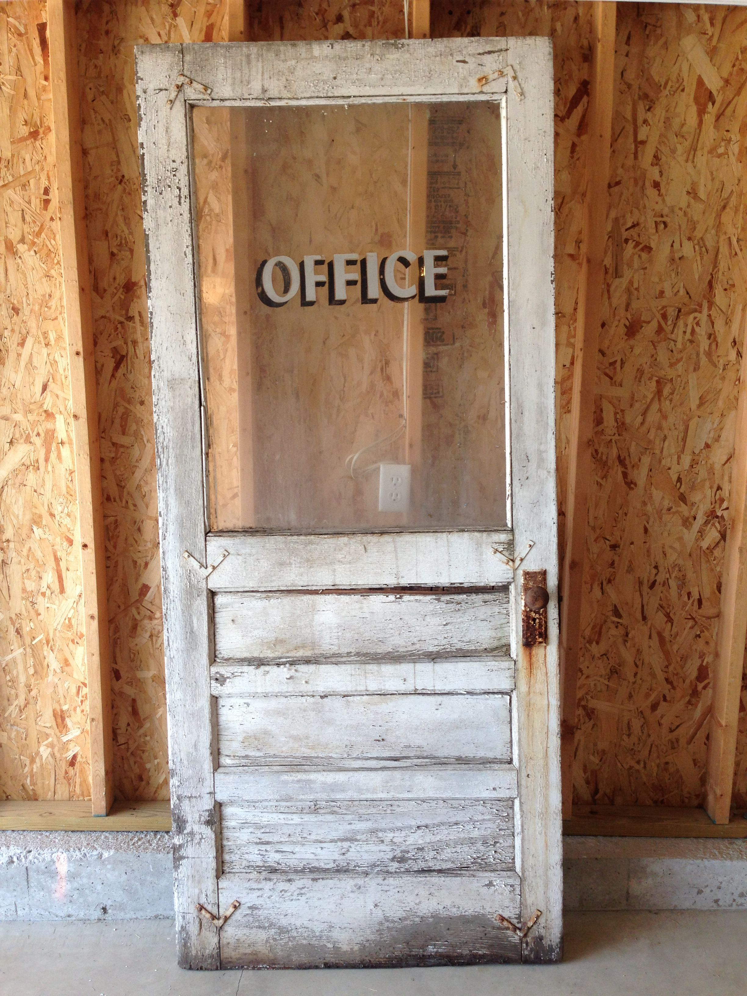 Very rough rustic vintage office door i picked it 39 ll look great hanging on the wall of our home for Antique looking interior doors