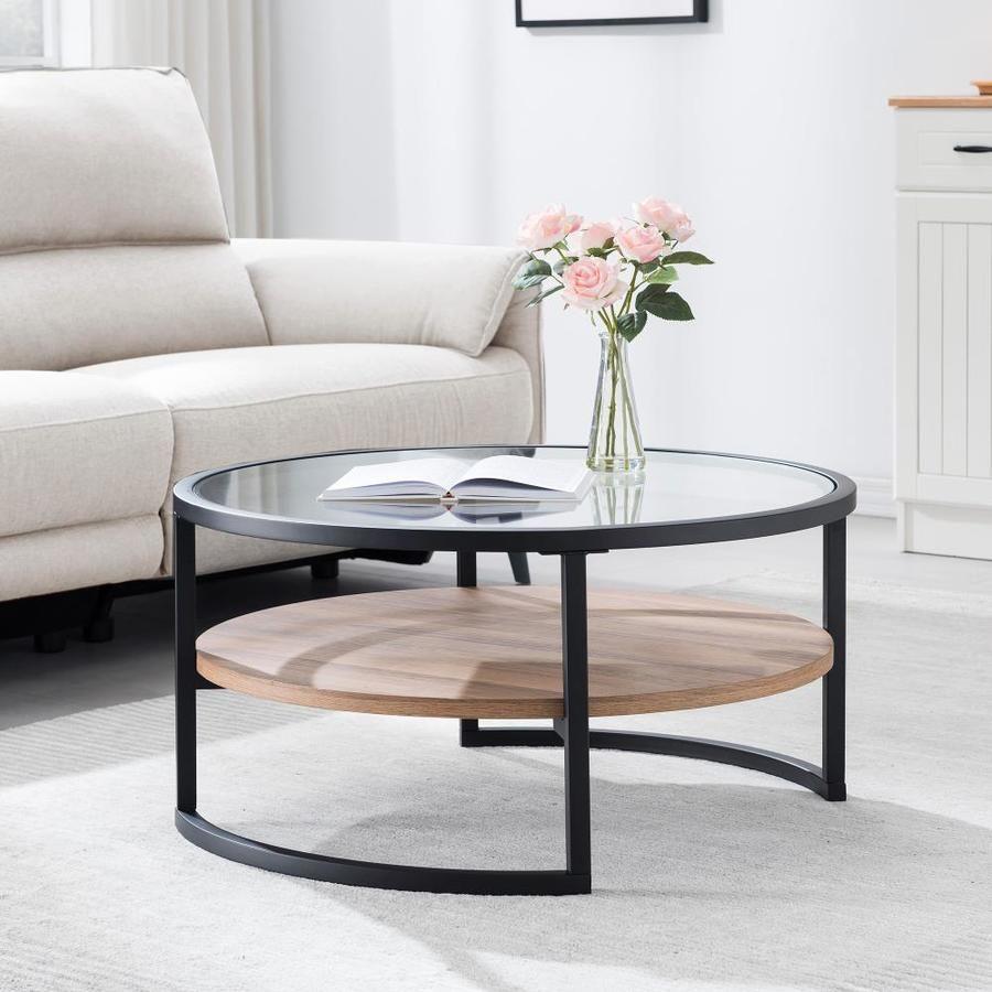Hailey Home Winston Black Oak Metal Coffee Table Lowes Com Coffee Table Living Room Coffee Table Round Coffee Table Living Room [ 900 x 900 Pixel ]