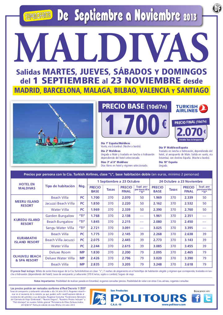 MALDIVAS, salidas del 29/10 al 23/11 desde Mad, Bcn, Agp, Bio, Vlc y Scq (10d/7n) p.f. 2.070€ - http://zocotours.com/maldivas-salidas-del-2910-al-2311-desde-mad-bcn-agp-bio-vlc-y-scq-10d7n-p-f-2-070e/