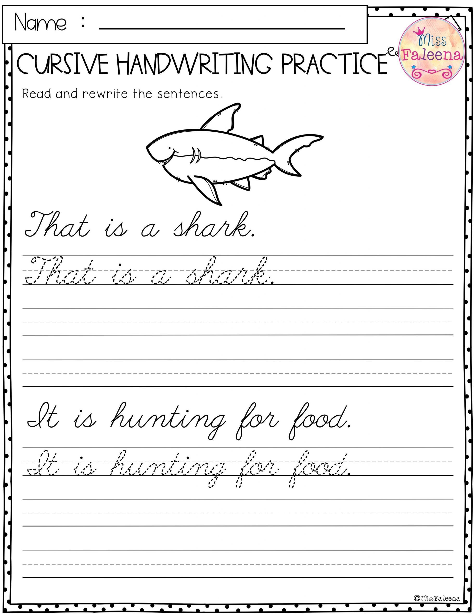 11 Best Of 2nd Grade Cursive Writing Worksheets Di