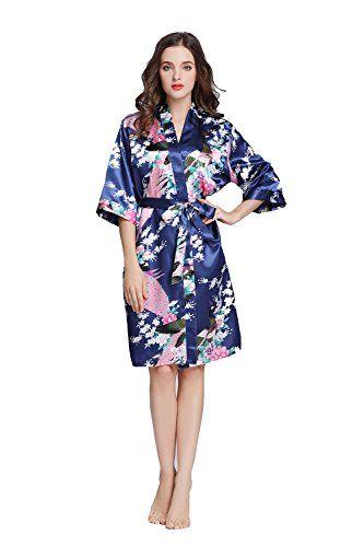 TheRobe Women s Printing Peacock Kimono Robe Short Sleeve Silk Bridal Robe  Wedding Robes 69fdc8840