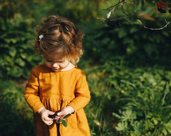 Senf Leinen Kinderkleid Leinen Mädchenkleid Mädchen weichen ...