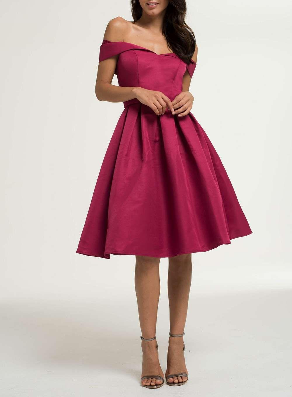 Chi Chi London Berry Bardot Midi Dress Dresses Chic Black Dress Bridesmaid Dresses