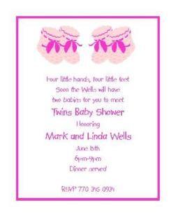Booties   Twin Girls Baby Shower Invitations