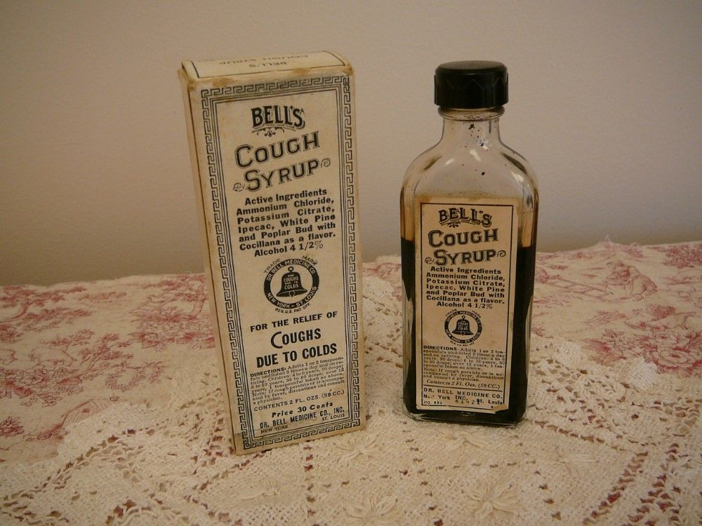 BottleVintage cough syrup bottle and by MyCottageRose on Etsy