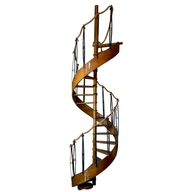 1930S Wood Spiral Staircase With Wrought Iron Balusters And Rope | Wrought Iron Rope Handrail | Twisted | Rope Twist | Porch | Brackets | Unlacquered Brass