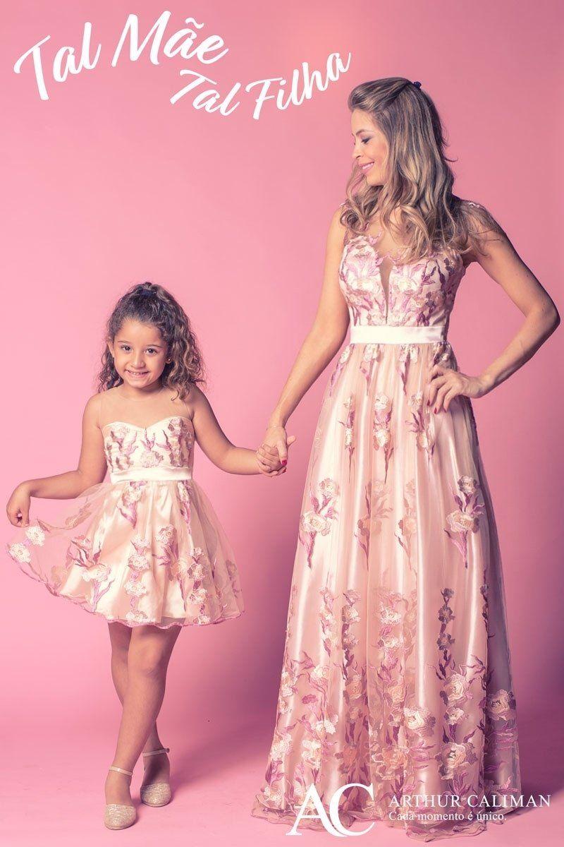 Vestido Infantil Curto Romântico Tal Mãe Tal Filha