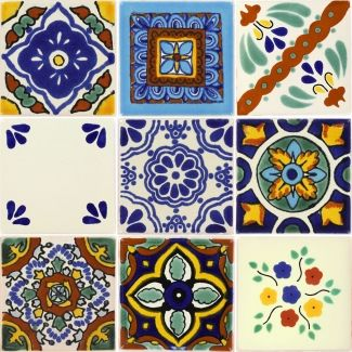 "Mexican Decorative Tiles Set Of 9 Mexican Talavera Ceramic Tiles 2""x 2""  Just Talavera"