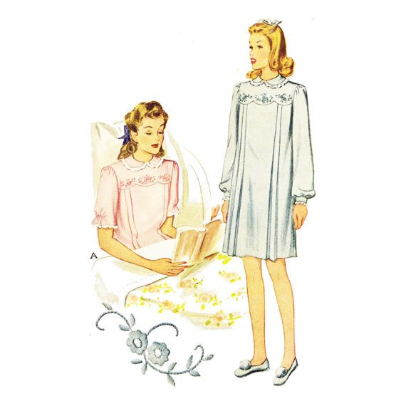 1940s Hospital Gown Pattern Bust 34 Vintage by PatternAndStitch ...