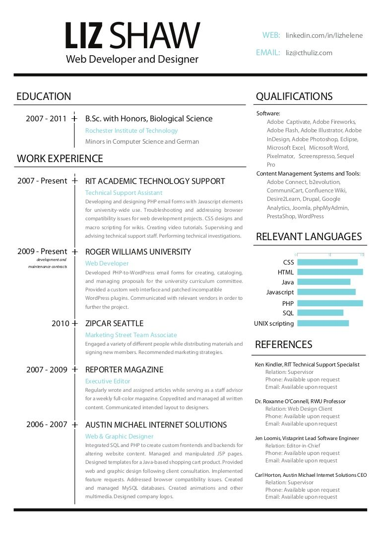 Web Development And Design Resume This Resume Highlights Designing And Programming In A Web Environment Web Designer Resume Resume Design Sample Resume Format