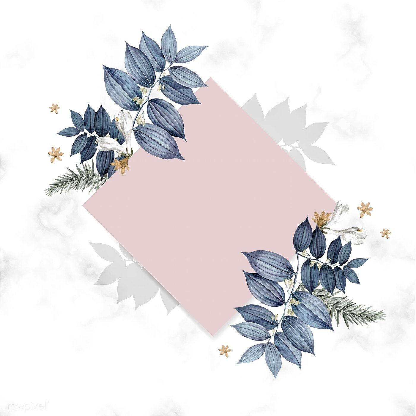 Download Premium Illustration Of Blue Floral Blank Square Card Design Card Design Square Card Floral Border Design