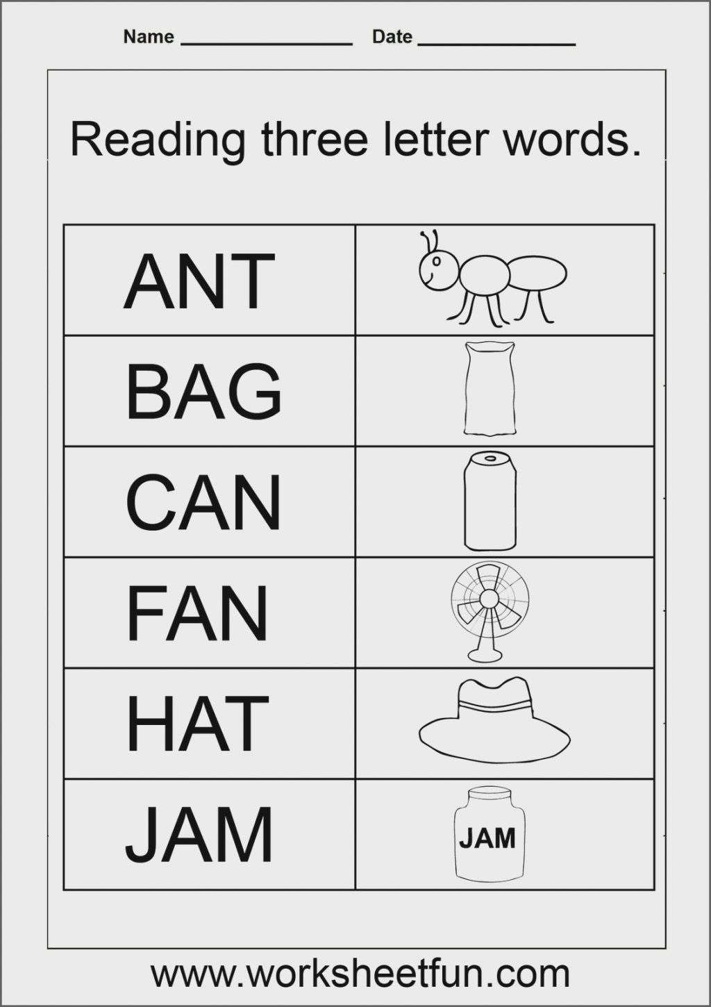 Kindergarten Three Letter Words Worksheets Worksheet Ideas