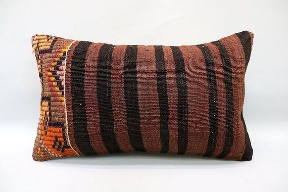 """Kilim Pillow, 12""""x20"""", Decorative Ethnic Pillow, Handmade Boho Pillow, Vintage Sofa Pillow, Throw Pillow, Kilim Pillow, Kilim Cushion"""