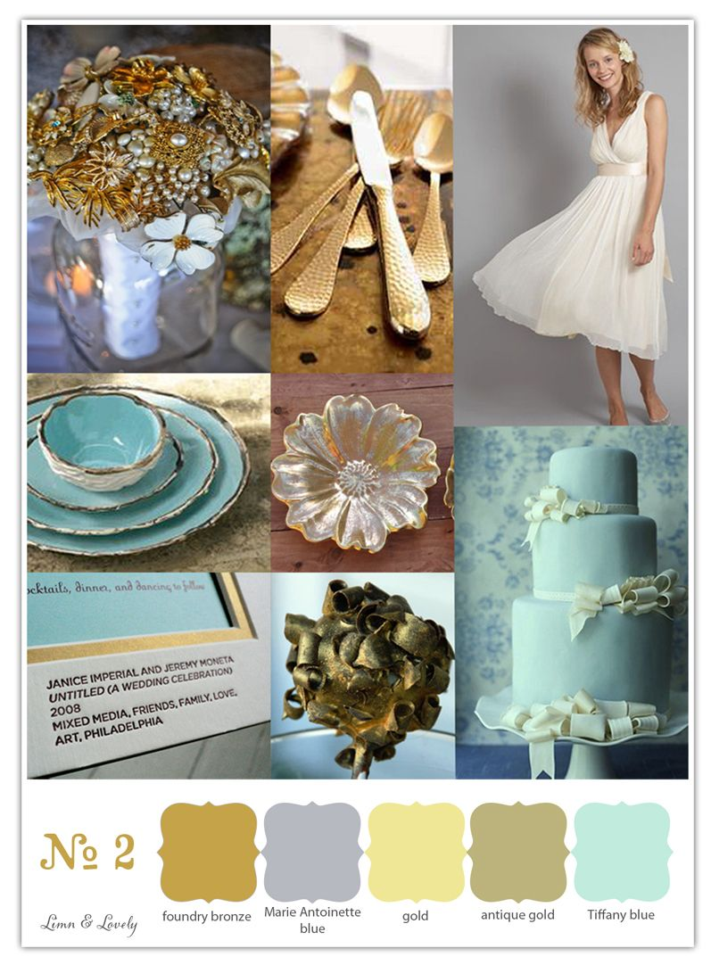 antique gold and Tiffany blue, gold and blue wedding