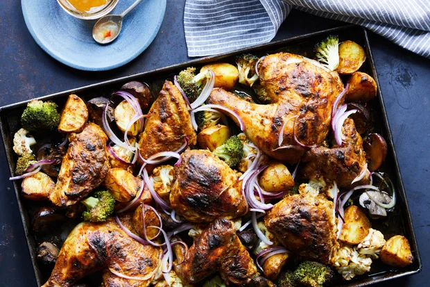 Tandoori Chicken and Vegetable Sheet-Pan Supper