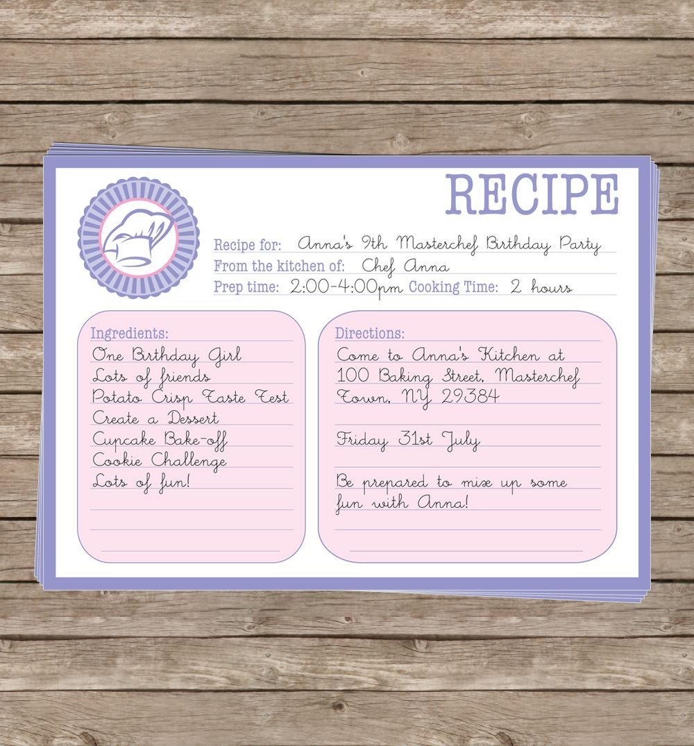 Printable recipe card cooking invitation birthday party collection page not found simonemadeit party printables stopboris Choice Image