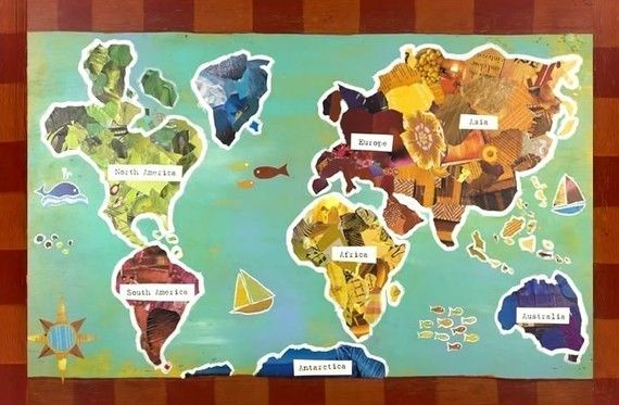 11x14 world map recycled collage poster etsy mapsglobes 11x14 world map recycled collage poster etsy gumiabroncs Choice Image