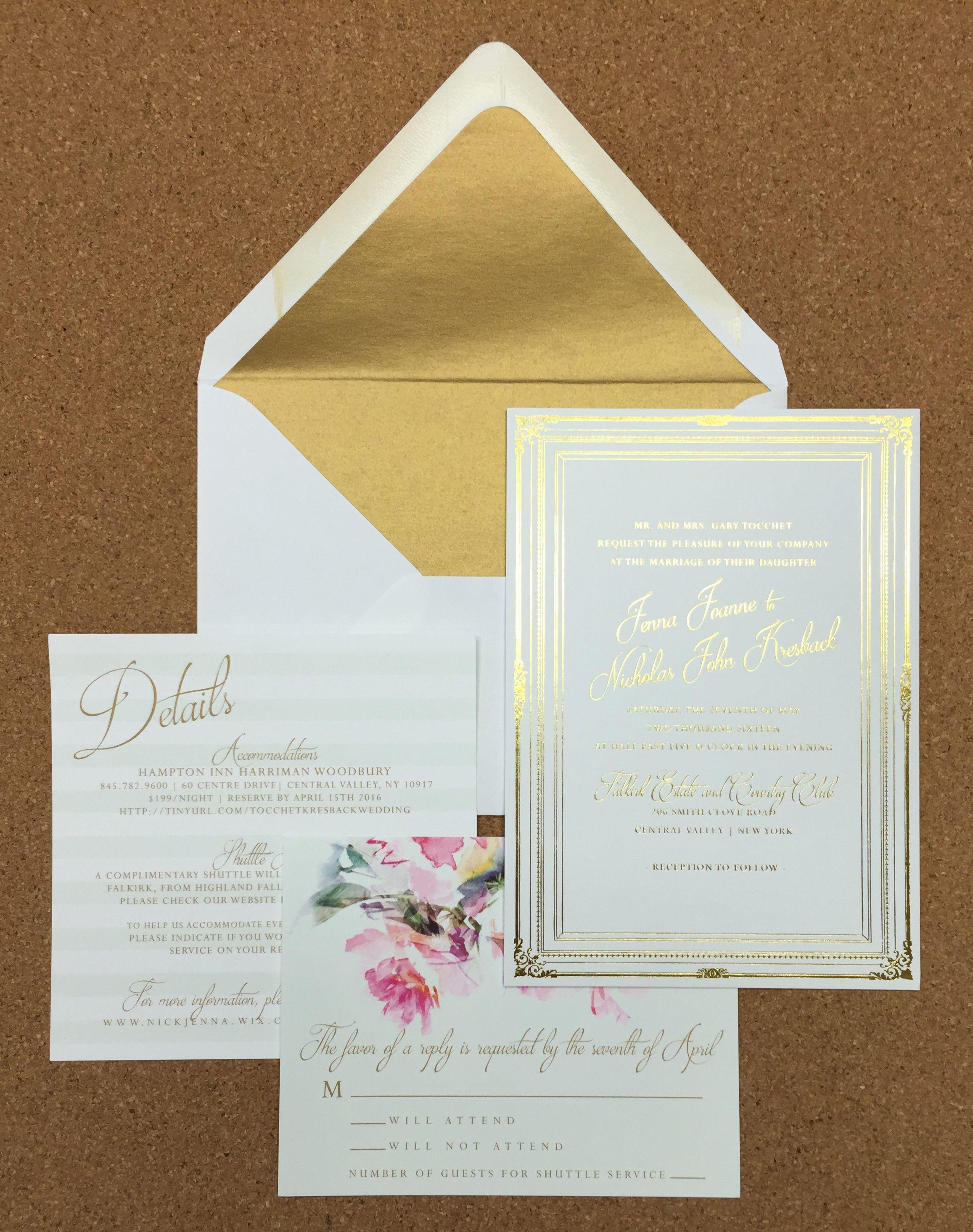 wedding invite gold foil mint foil envelope liner floral