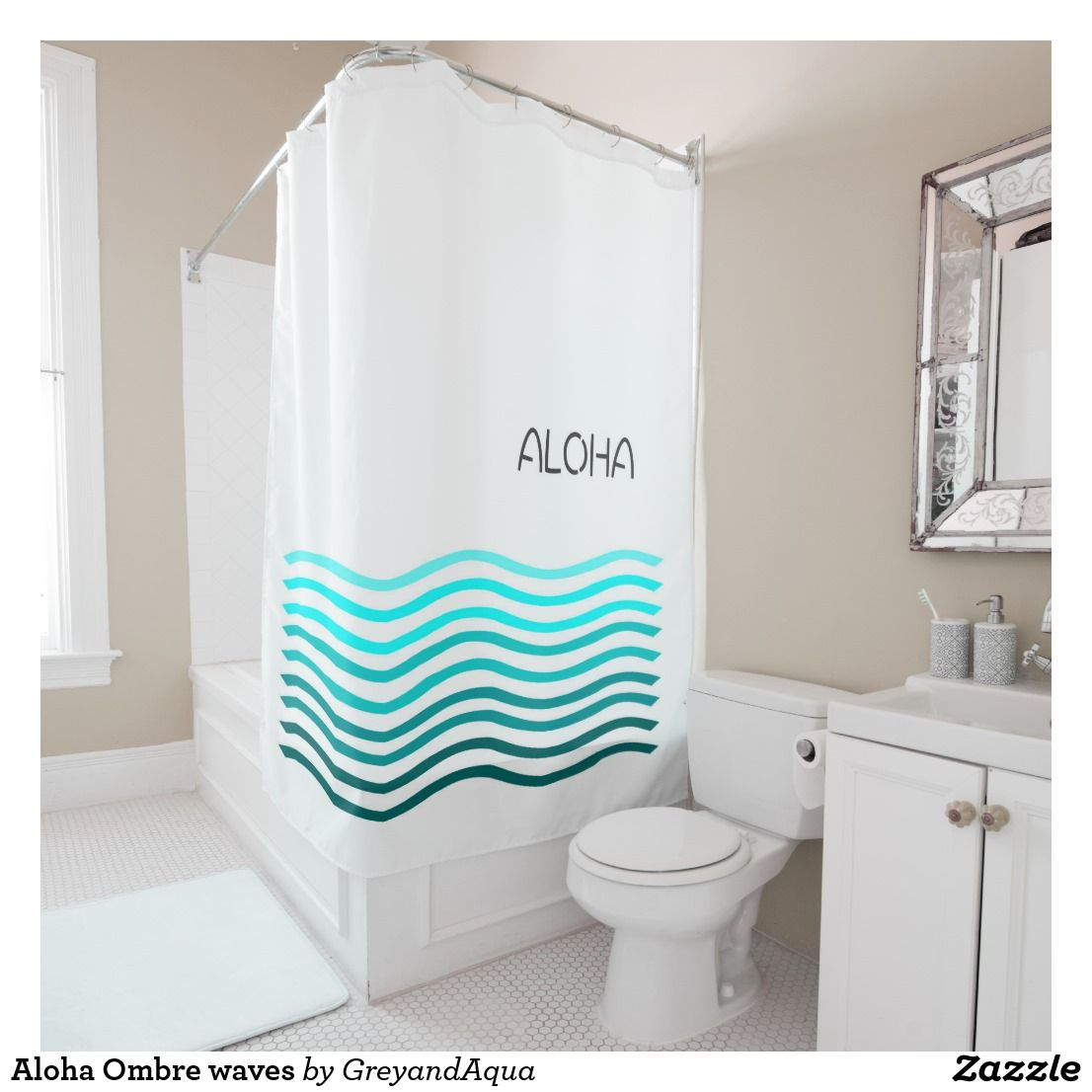 Aloha Ombre Waves Shower Curtain