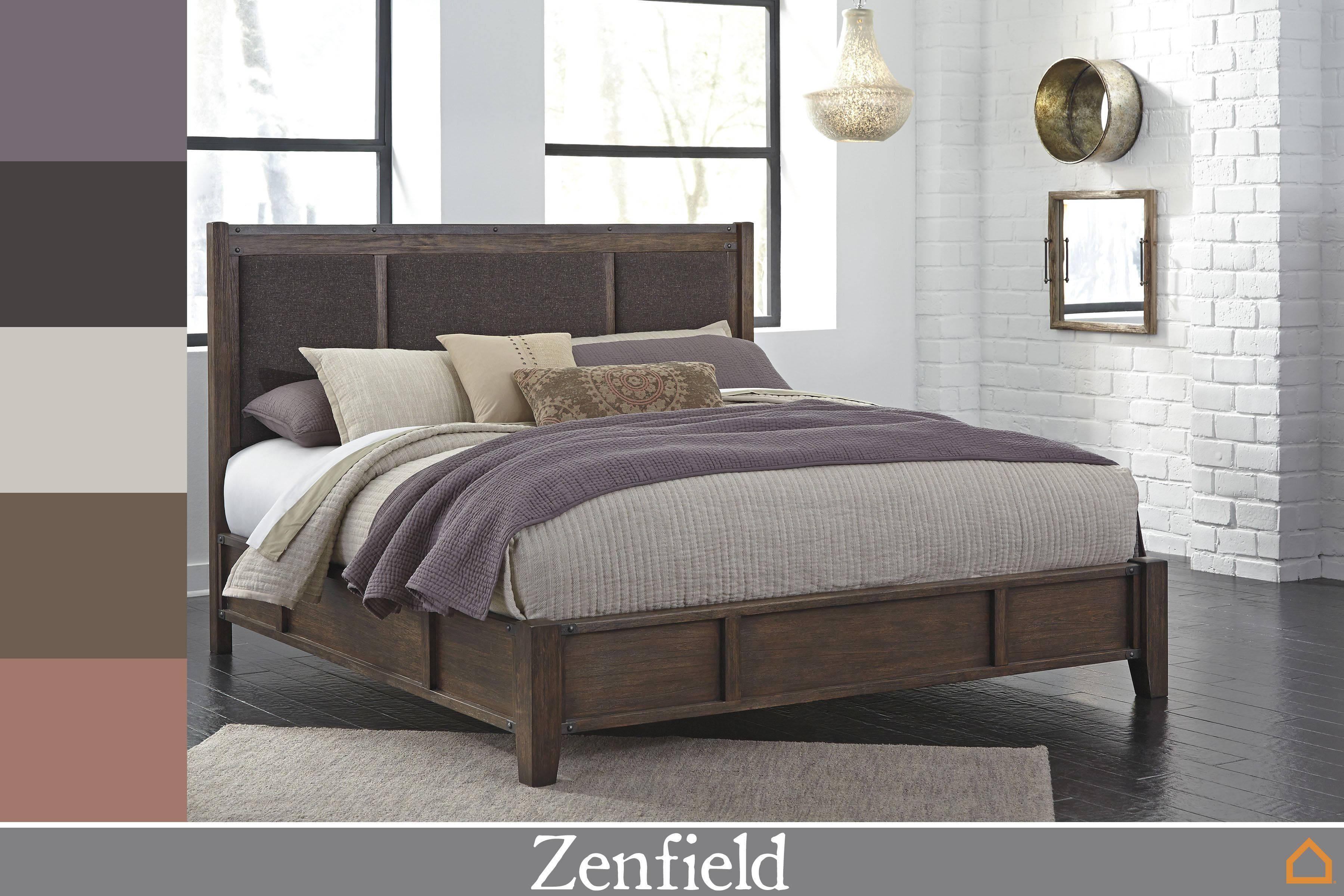 Dress Up Our Zenfield Bed With Muted Colors With Images King Upholstered Bed Stylish Bedroom Furniture Bedroom Furniture