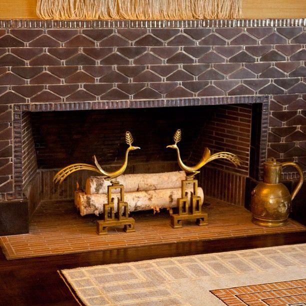 peacock fireplace irons Saarinen House #ElielSaarinen #Cranbrook