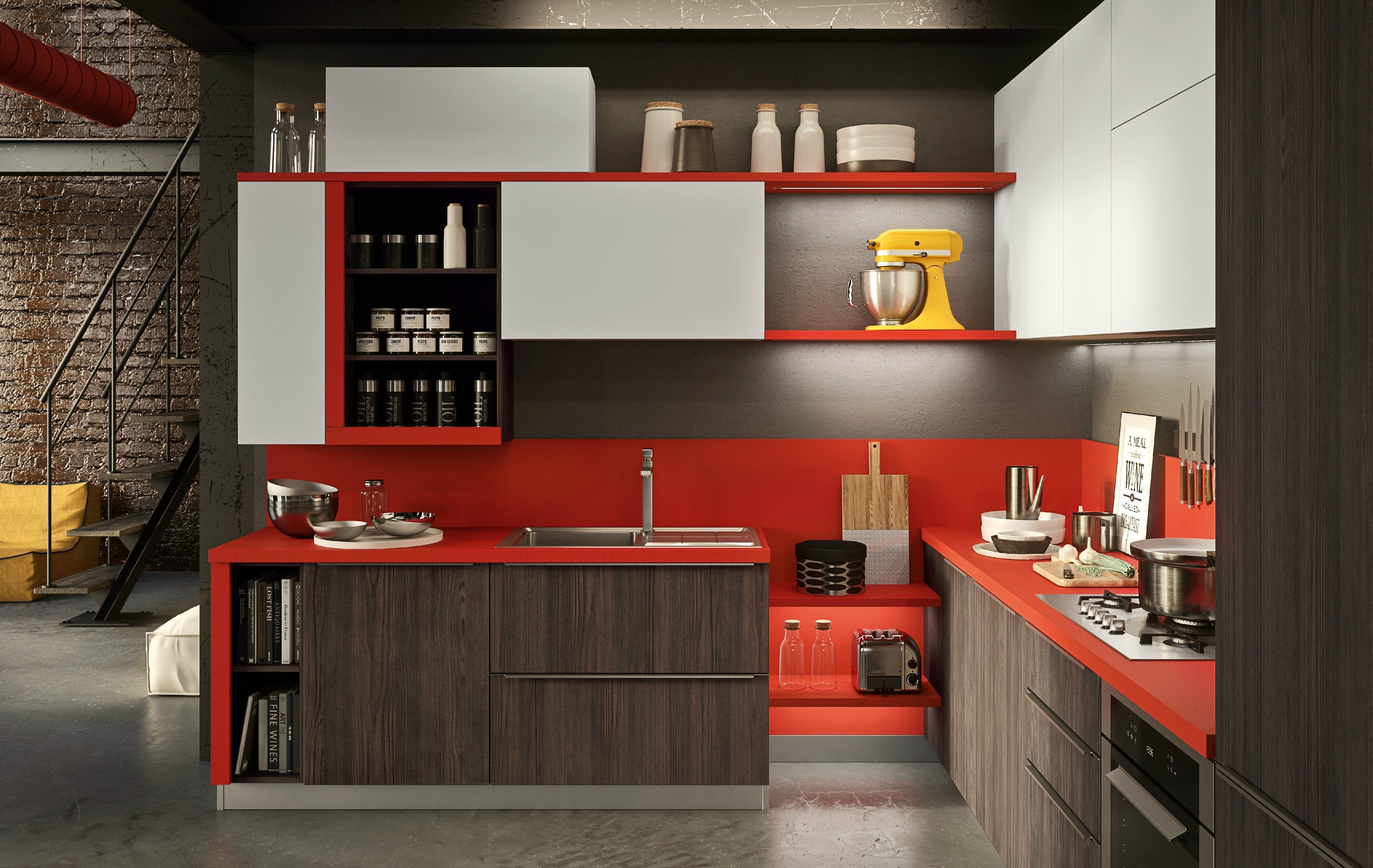 Fitted Kitchen With Integrated Handles Strip Abaco By Snaidero By Snaidero Design Snaidero Desi Modern Kitchen Design Kitchen Cabinet Styles Kitchen Fittings