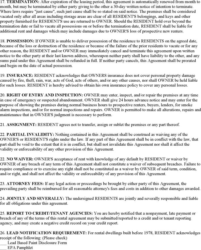 Basic Rental Agreement 2 Rental Agreement Templates Lease Agreement Agreement