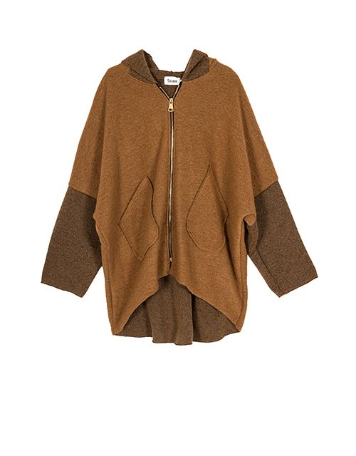 The camel midi cardigan with hood  2c3d3a632f2