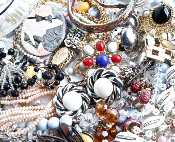 Lot of Vintage Costume Jewelry - Pins, Earrings, Necklaces / 1 Pound 14 Ounces Intact Destash Lot by Maejean Vintage, $50.00