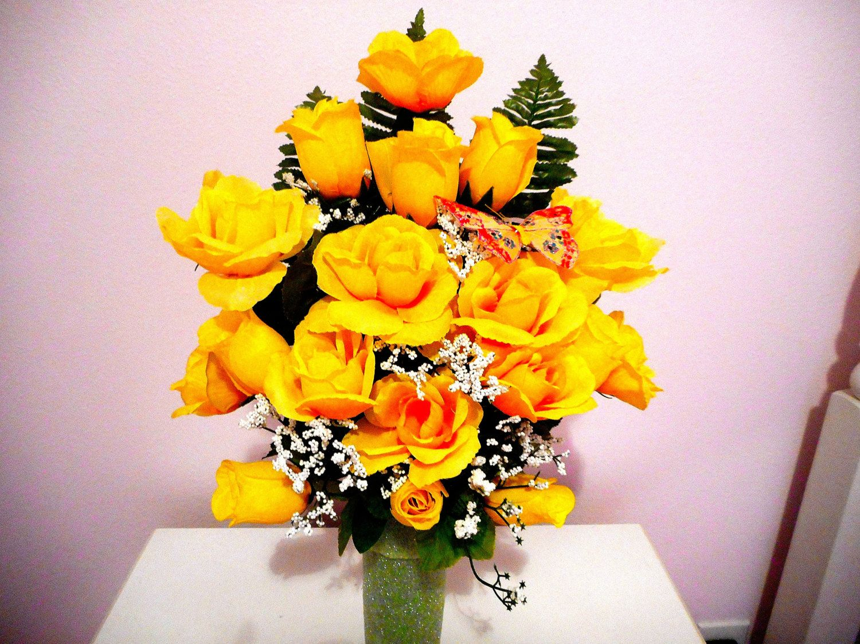 Silk flower arrangement floral bouquet yellow roses and babies silk flower arrangement floral bouquet yellow roses and babies breath cemetery bouquet mightylinksfo