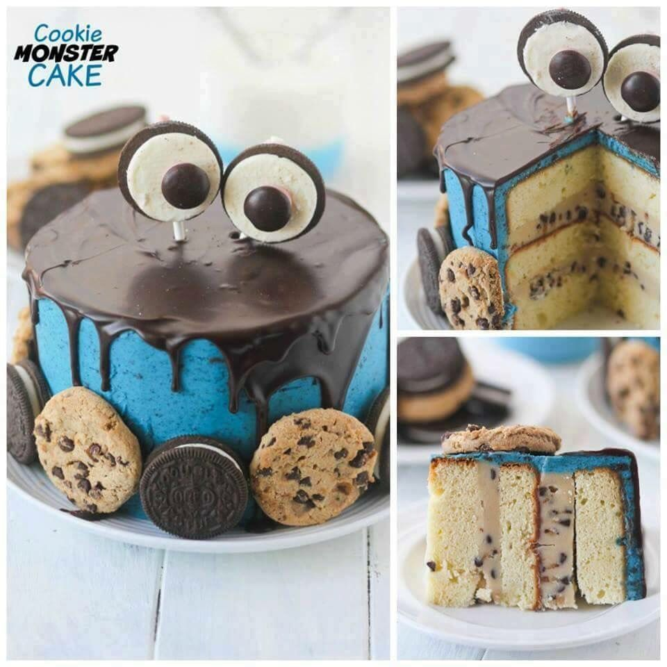 Oreo Kuchen Backmischung Cookie Monster Drip Cake Cakes In 2019 Cookie Monster Cakes