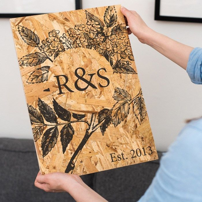 Personalised Wooden Sign Botanical 5th Anniversary
