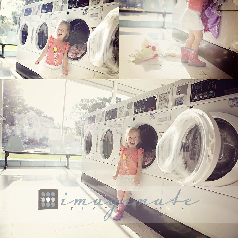 3 Year Old Avery Laundry Mat Photo Shoot Bloomington Normal