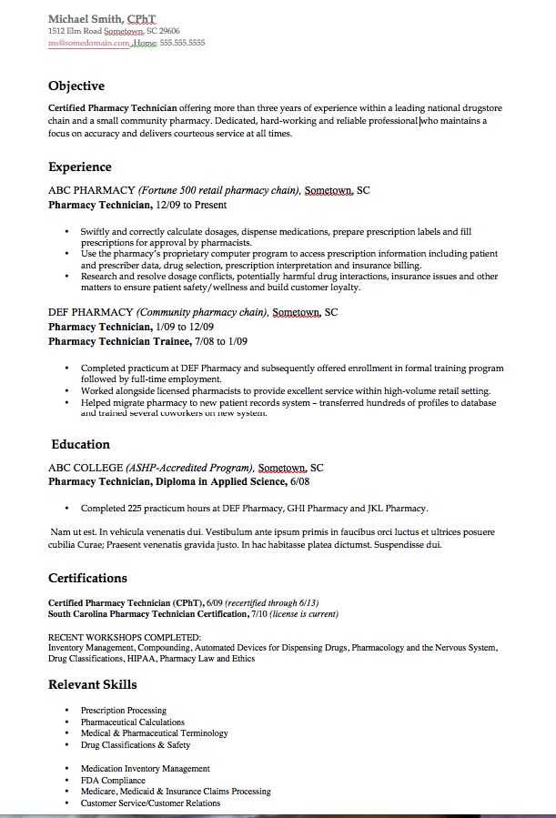 Pharmacy Technician Resume Example Httpresumesdesign